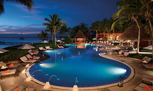 A shot of the pool at night.
