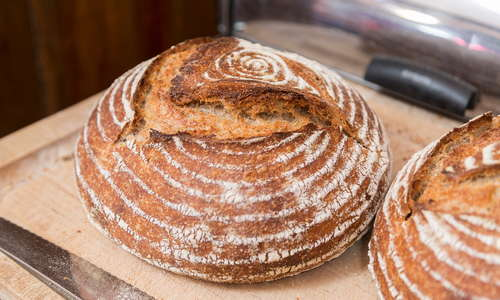 Home-baked organic wild leaven bread