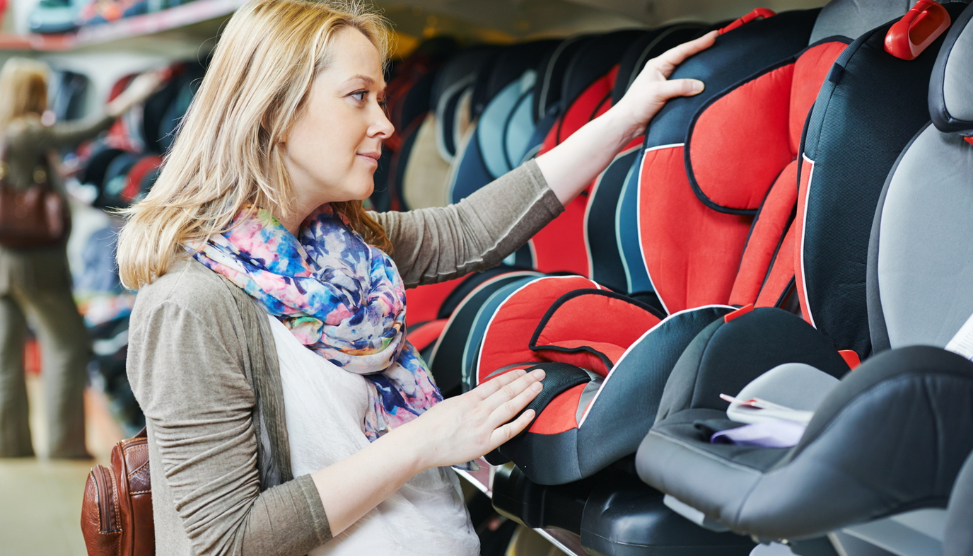 woman shopping for car seat