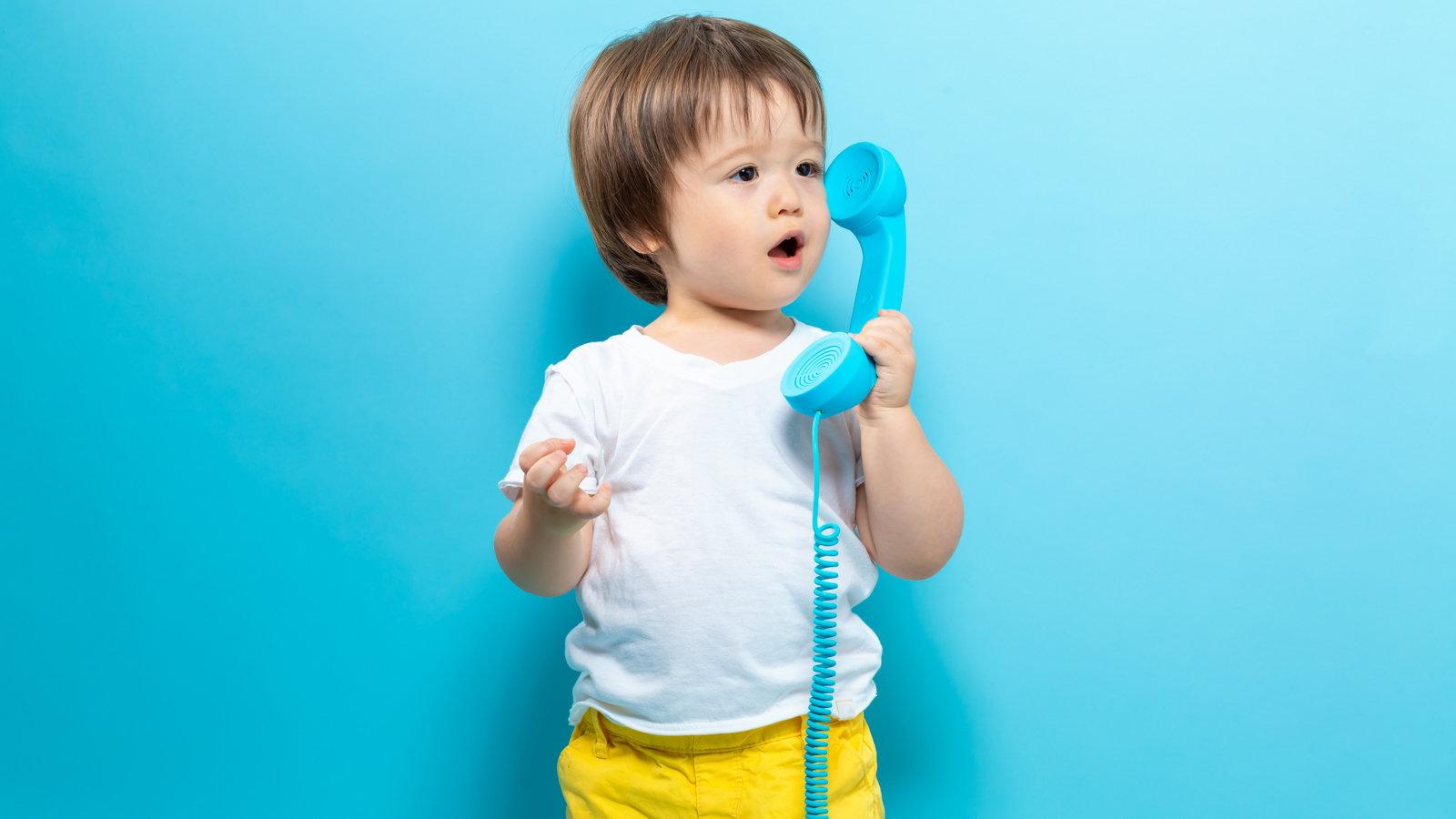 toddler talking on phone