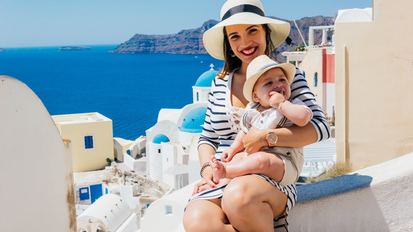 mother and son on vacation in Greece