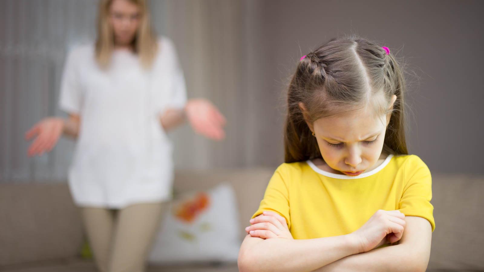 mom scolding child