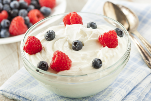A bowl with yogurt and berries.
