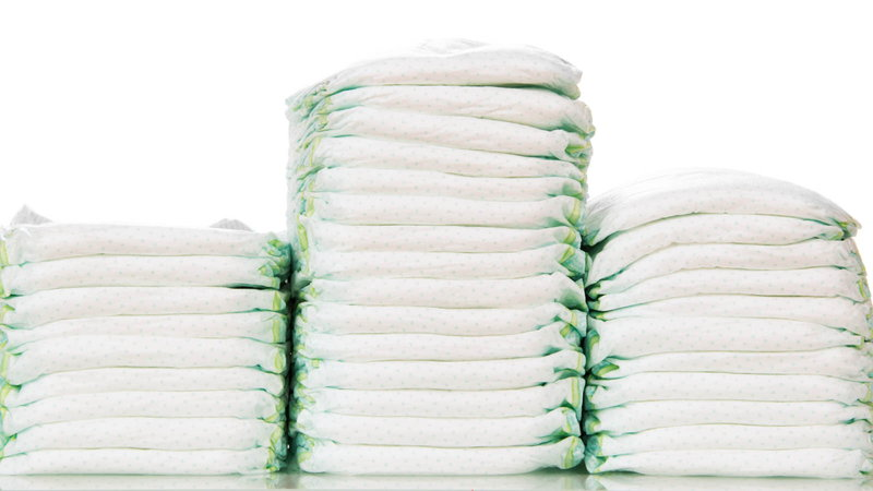 Stacks of diapers