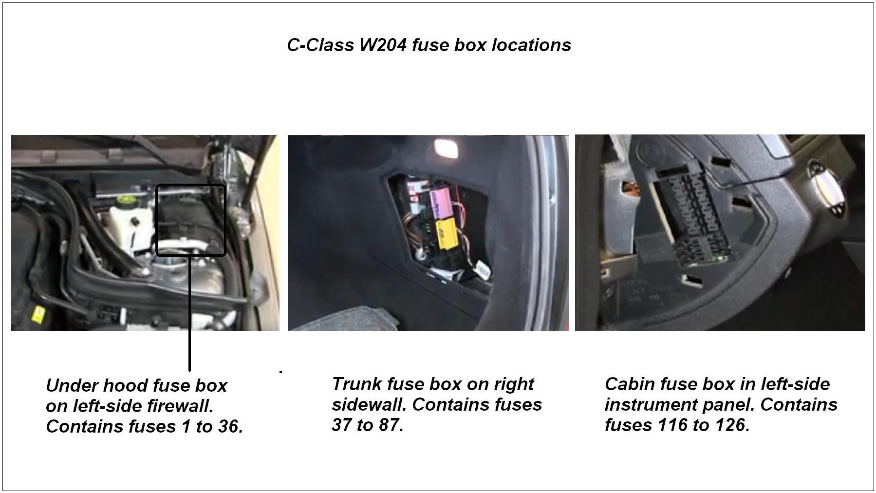 Location of w204 fuse boxes.