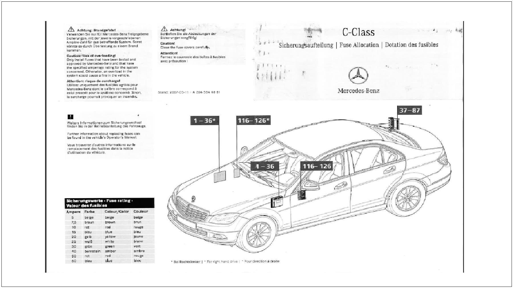 Mercedes Benz C Class w204 Fuse Diagrams and Commonly