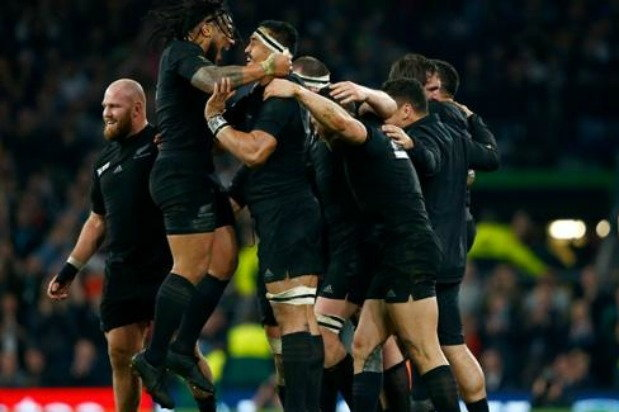 New Zealand rugby team known as All Blacks celebrate their win