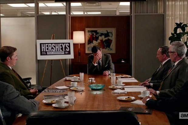 Don Draper in the Hershey's meeting