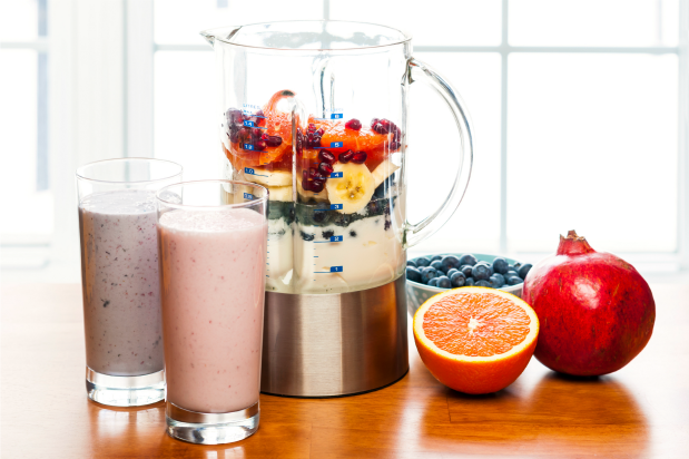 smoothies next to blender