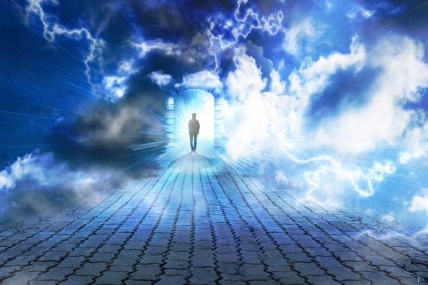 man walking into the sky