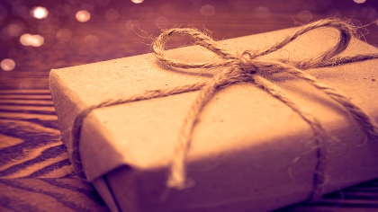 A gift-wrapped box.