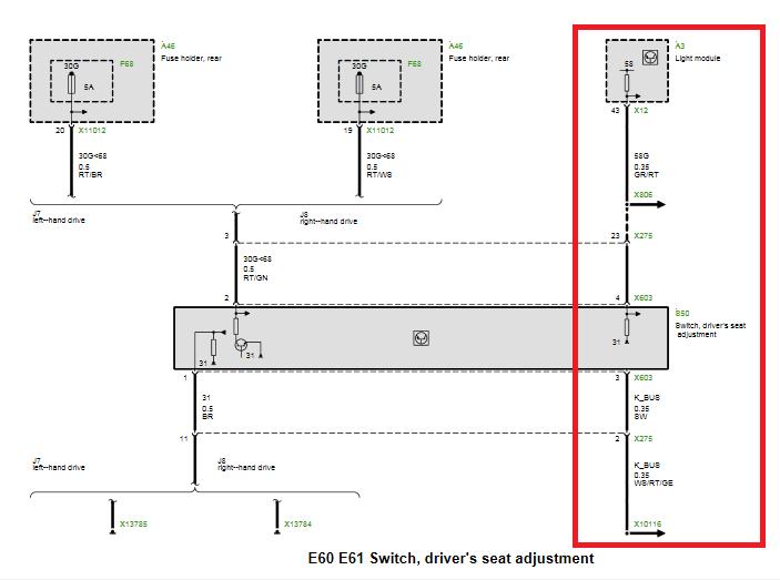 Wiring Diagram Help Seat 5series Net, Bmw Wiring Diagrams E60