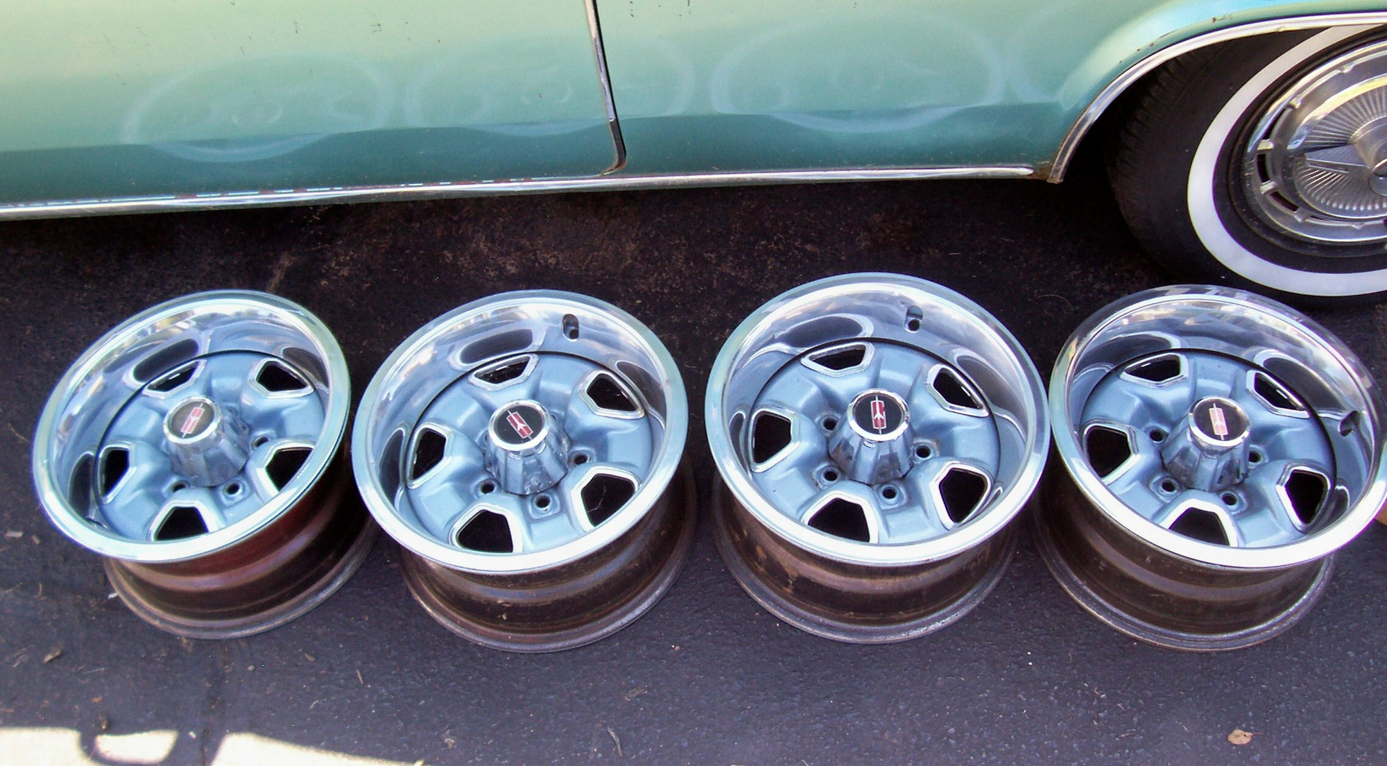 """68 69 70 71 72 Set Of Four 14"""" X 7"""" SS-2 Olds Rally Wheels"""