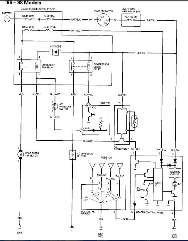 98 civic  c compressor clutch will not