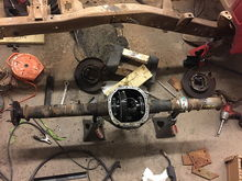 Got the rear end tore apart, driver side axle tube cut and rewelded to length.