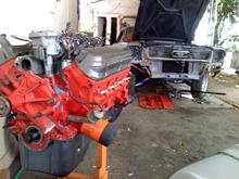 66 coupe in the works  motor ready just waiting for brackets