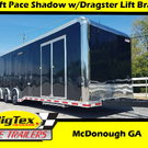 2020 Pace American 8.5x34 Shadow GT with Dragster Brace LOAD