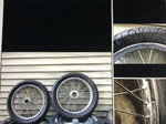 Spindle mount spoke wheels and tires