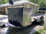 Double axle open car trailer with tire rack and storage
