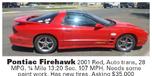 2001 Pontiac Firebird  for sale $35,000