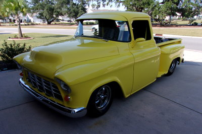 1956 chevy pickup street rod on air ride