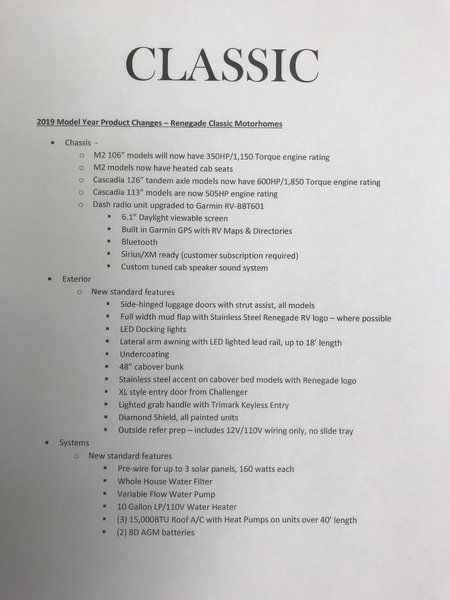 2019 Renegade Classic 36' Volvo VNR 500HP