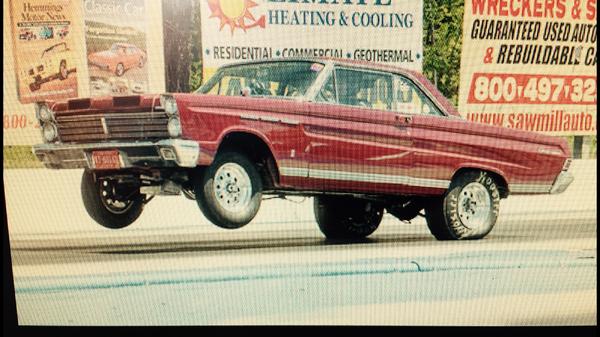 1965 Mercury Comet Caliente drag race, street strip