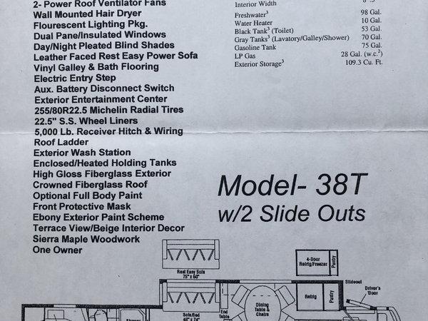 2006 Winnebago Adventurer 38T Class A Gas RV  for Sale $57,900