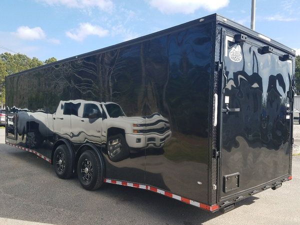 2019 Covered Wagon 8.5x28 7K Spread Axles with Side Cabinets