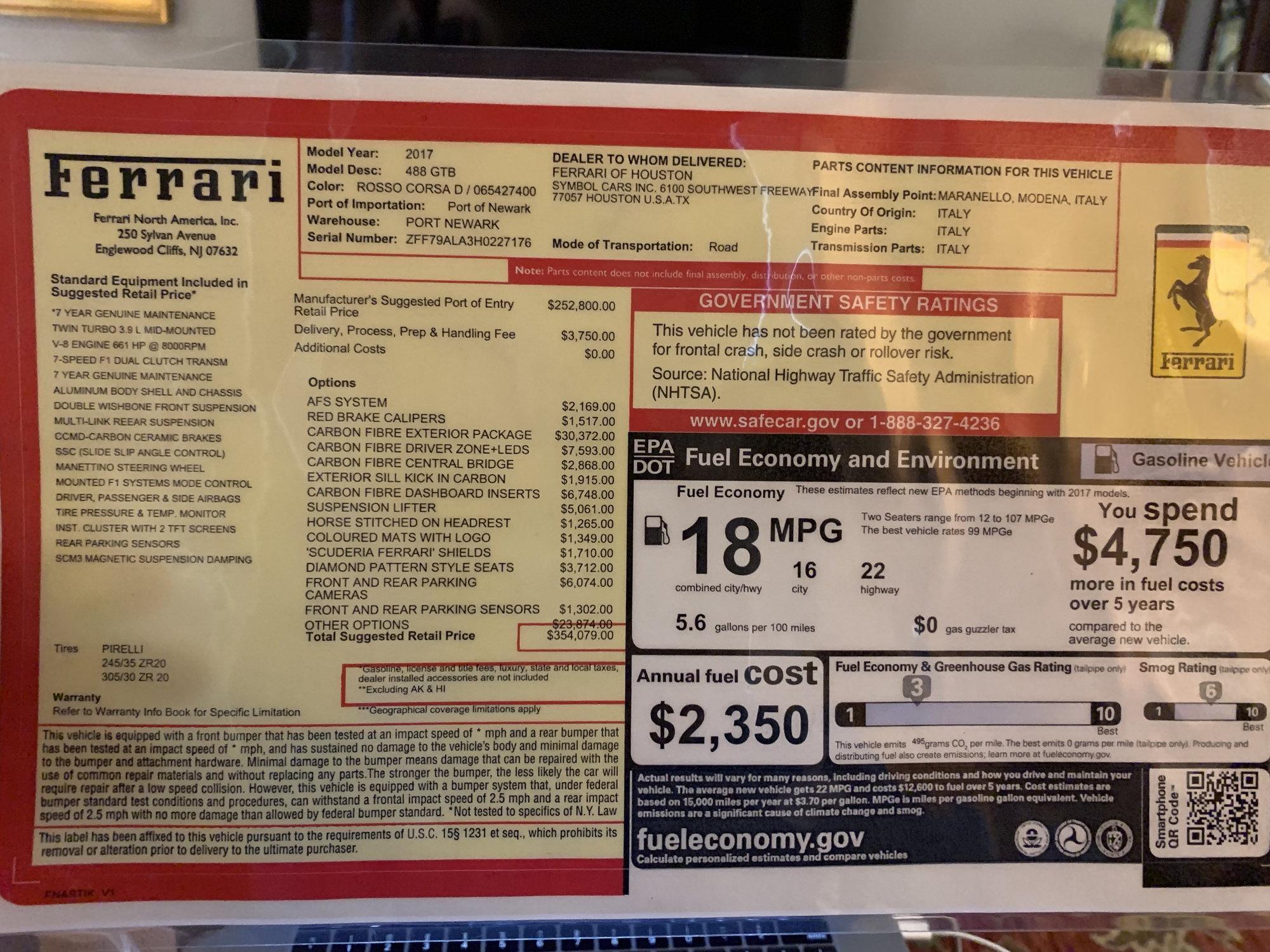 "2017 Ferrari 488 GTB ""One-Of-a-Kind"" Bonus Car"