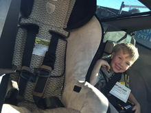 Comparison of size of standard car seat to RideSafer