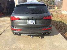 Frame Hitch Install, Painted Exhaust Tips and Rear Audi Emblem, De-Badged