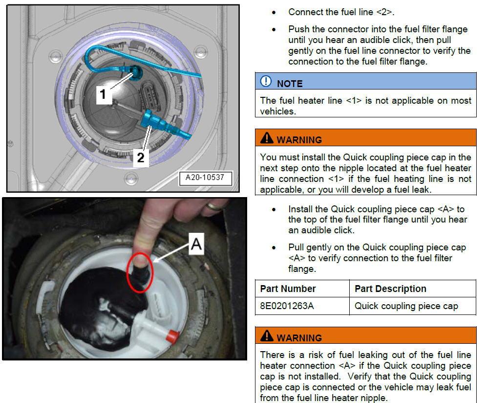 Fuel leaking from fuel pump vent hose - AudiWorld Forums