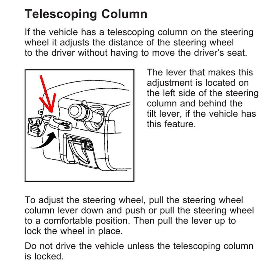 2008 Buick LaCrosse telescoping steering column lock lever