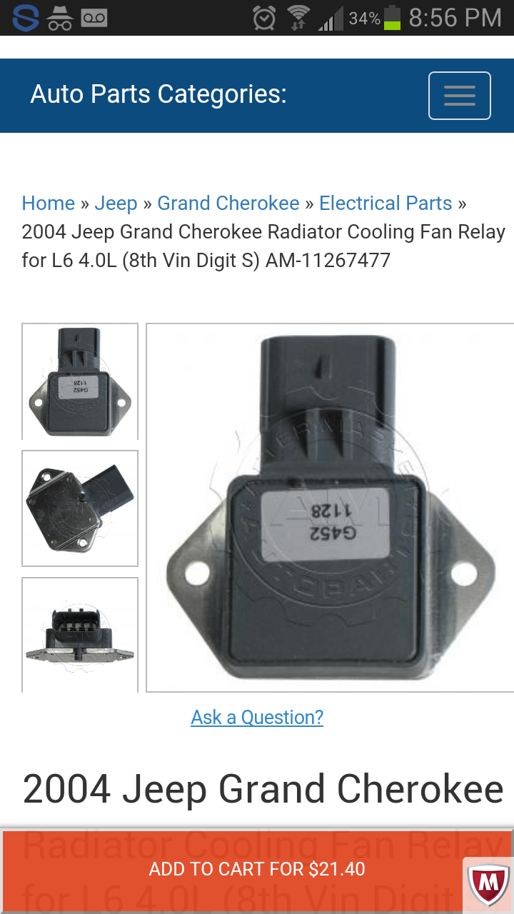 Radiator Fan Control Relay