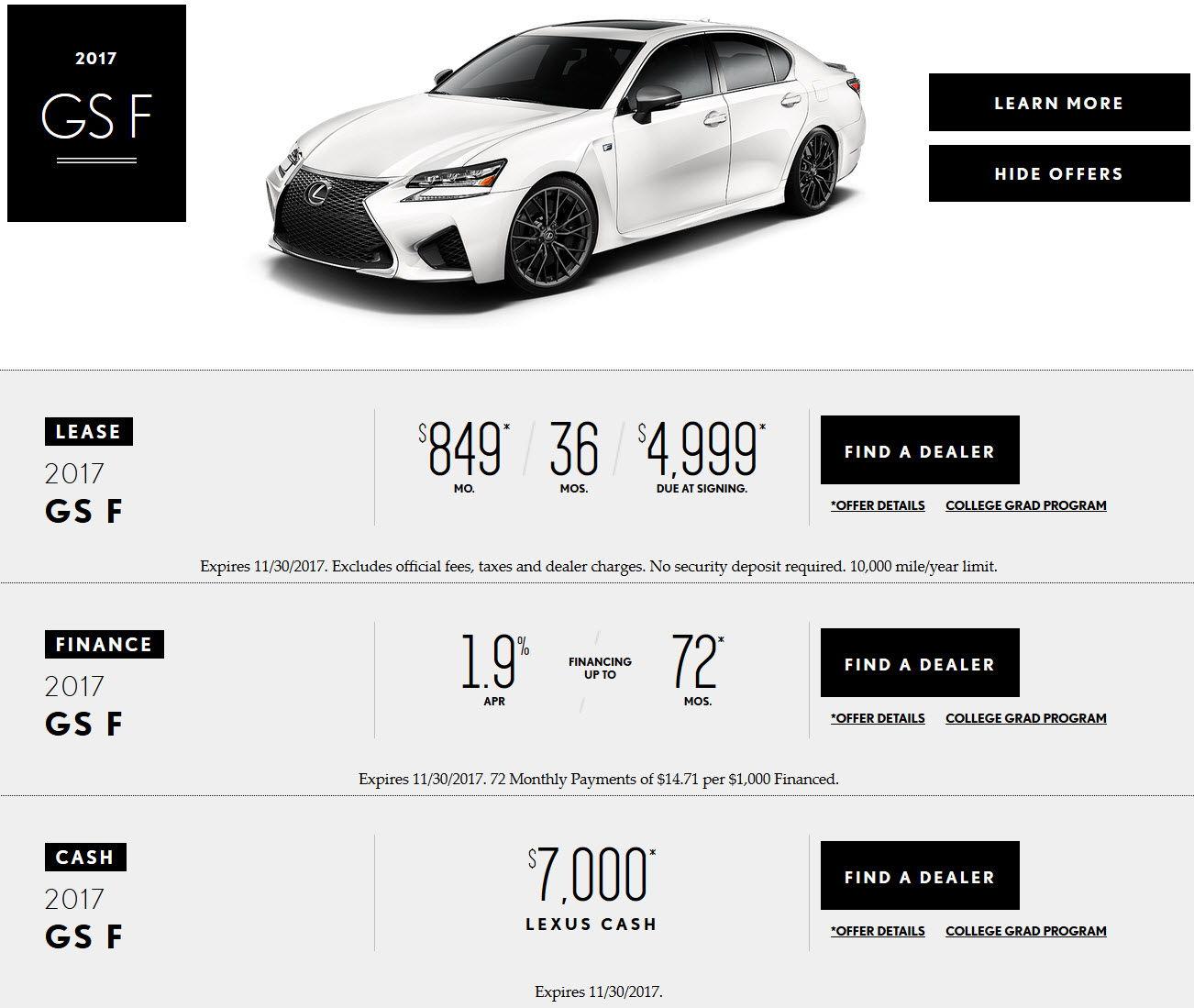 Lexus Gs Lease: GS-F Lease Special Now $849