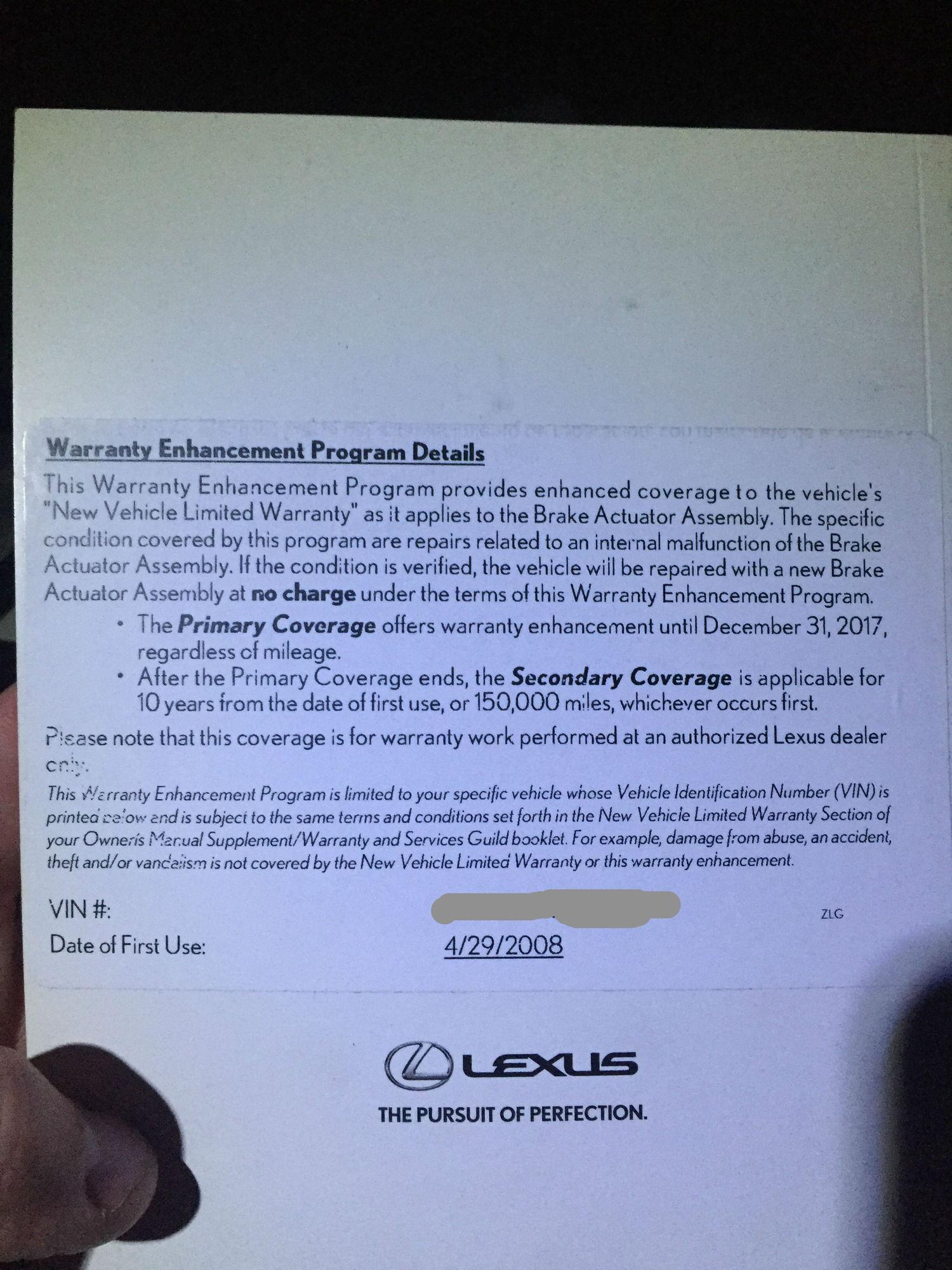Brake Actuator Warranty Enhancement - 2008 GS460 - ClubLexus - Lexus