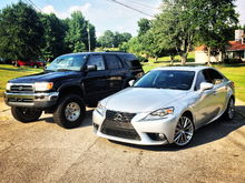 Toyota 4runner and the lexus after getting the windows tinted and washing the car  (20% tint)