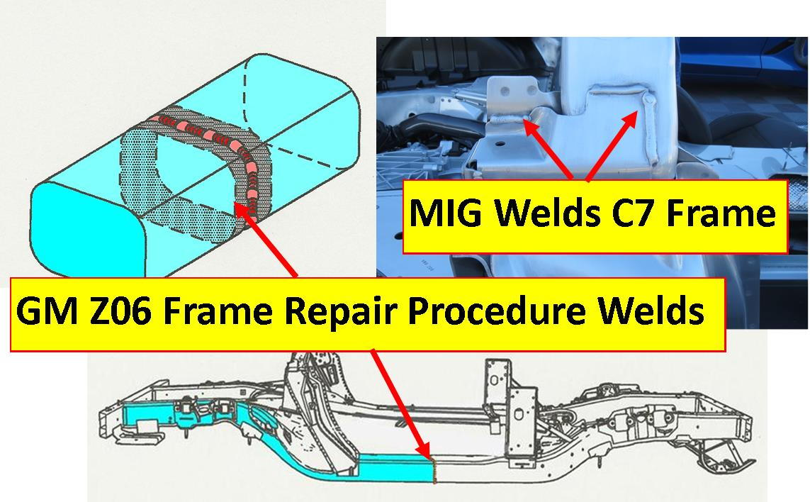 C6 Z06 aluminum frame required purchasing one piece frame rail, cutting  needed section and welding into good section of damaged frame.