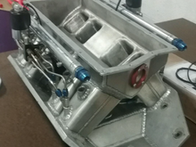 EFI sheet metal intake for BBC Pontiac 427 Big Chief setup with 3 dry stages of Induction Solutions Nitrous