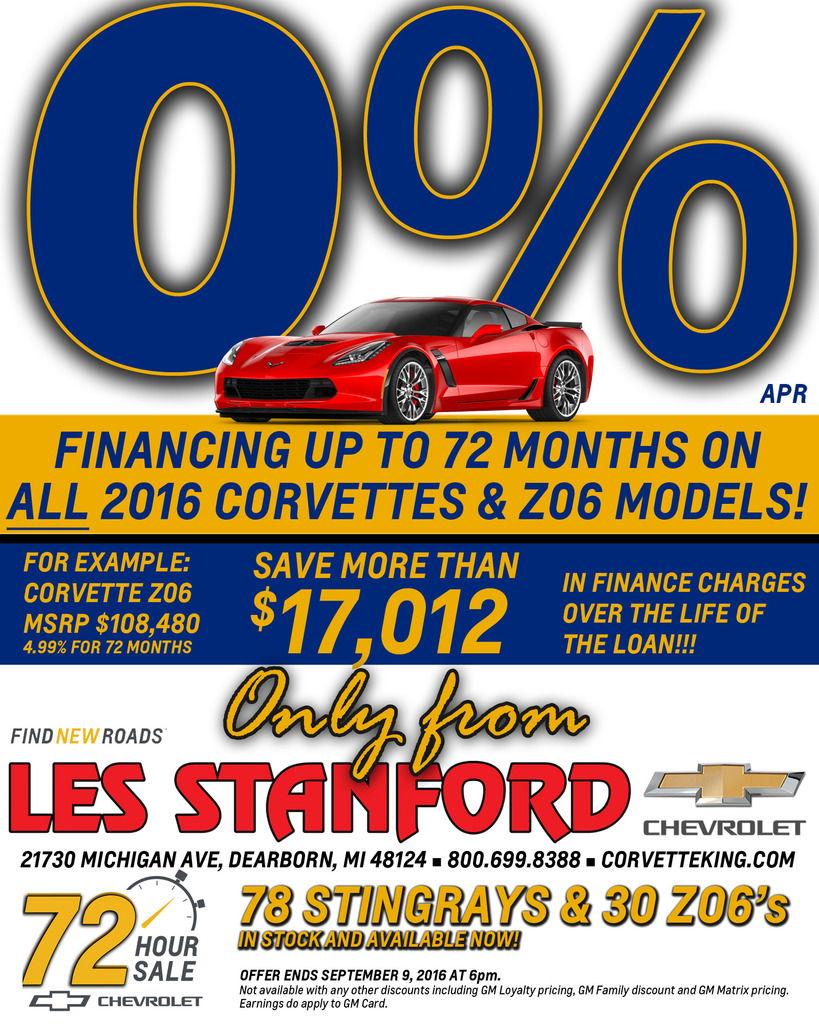 0 apr for up to 72 months on all 2016 corvettes including z06 only thru 9 9 corvetteforum. Black Bedroom Furniture Sets. Home Design Ideas