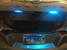 Replaced the license plate bulbs with ice blue led bulbs to go with the blue parking light bulbs