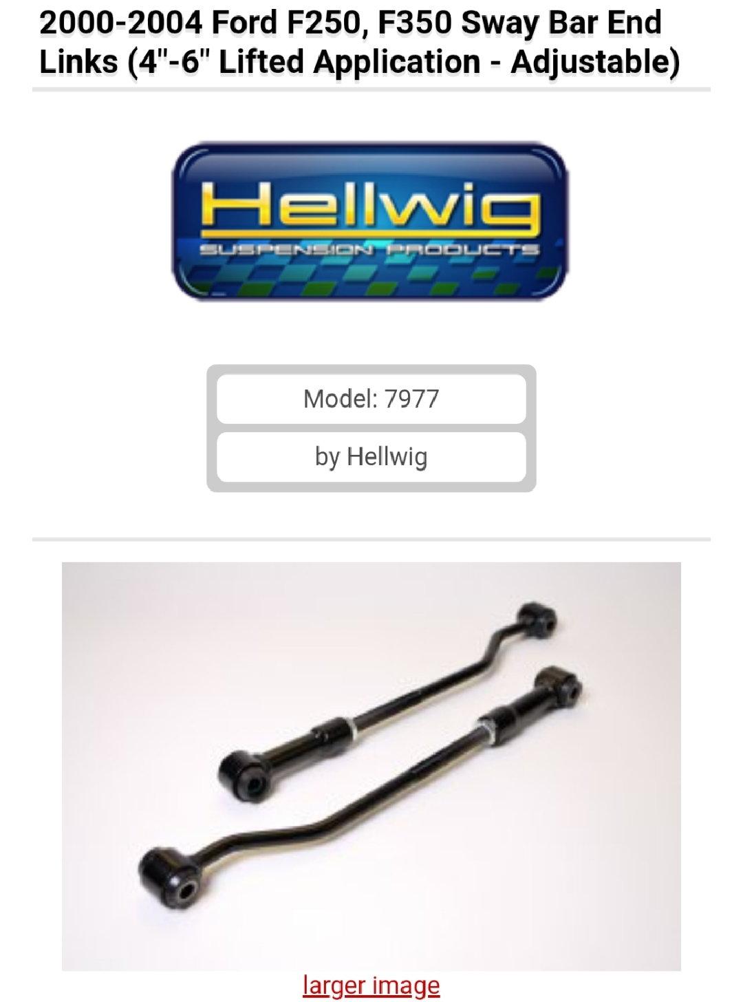 7977 4-6 Lift Sway Bar for Ford 250 Hellwig