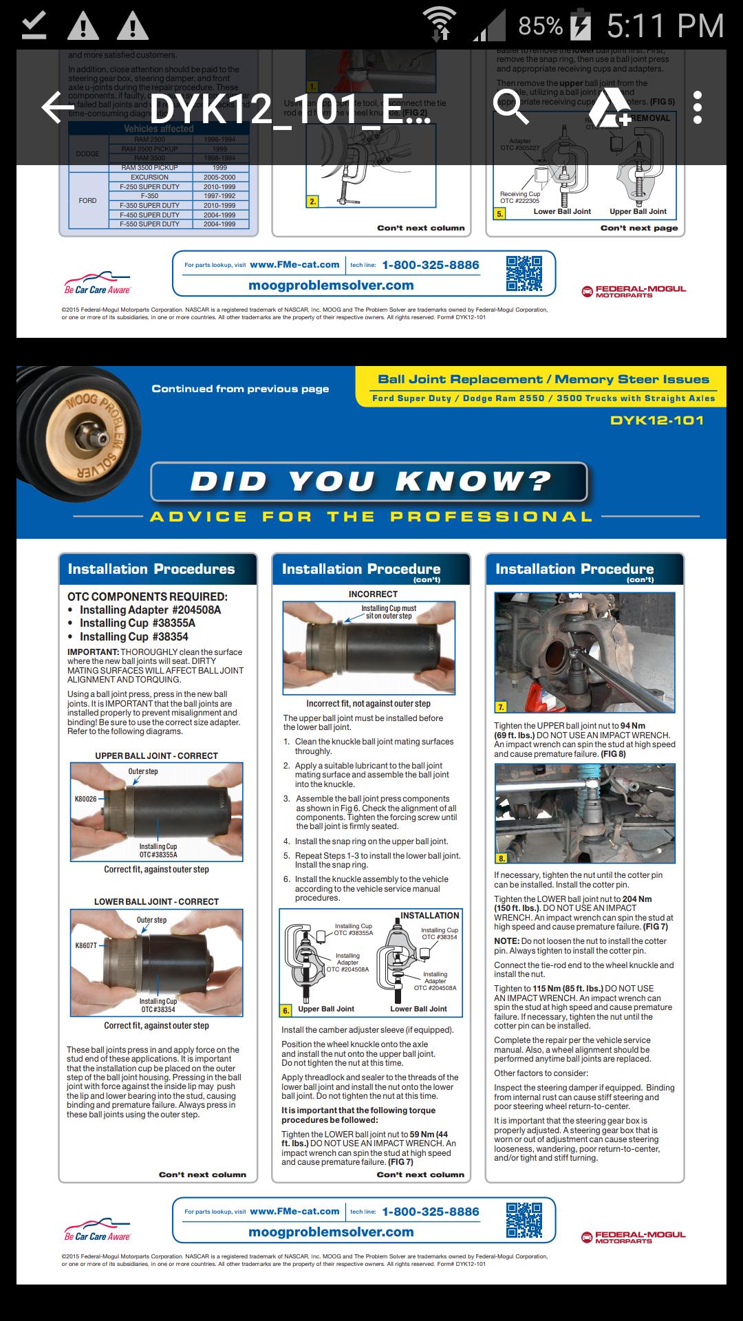 Ball Joint Installation Adapter OTC305227 Brand New!
