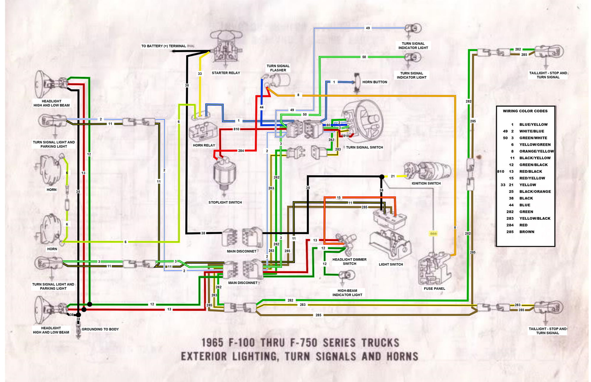 65 f100 thru f750 exterior wiring diagram ford truck