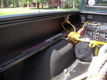 High Lift Jack mounted to fender well with hood pins.