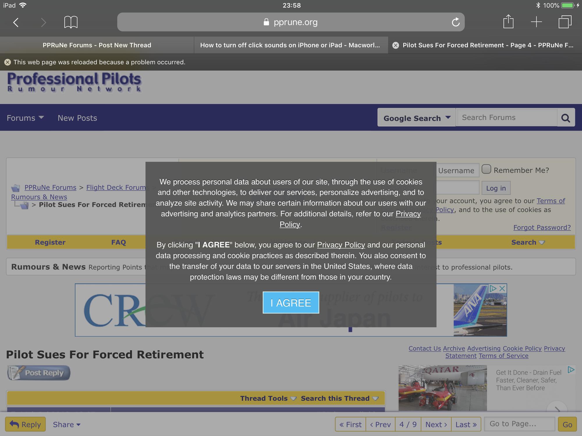 Pprune crashes Safari on iPad - PPRuNe Forums