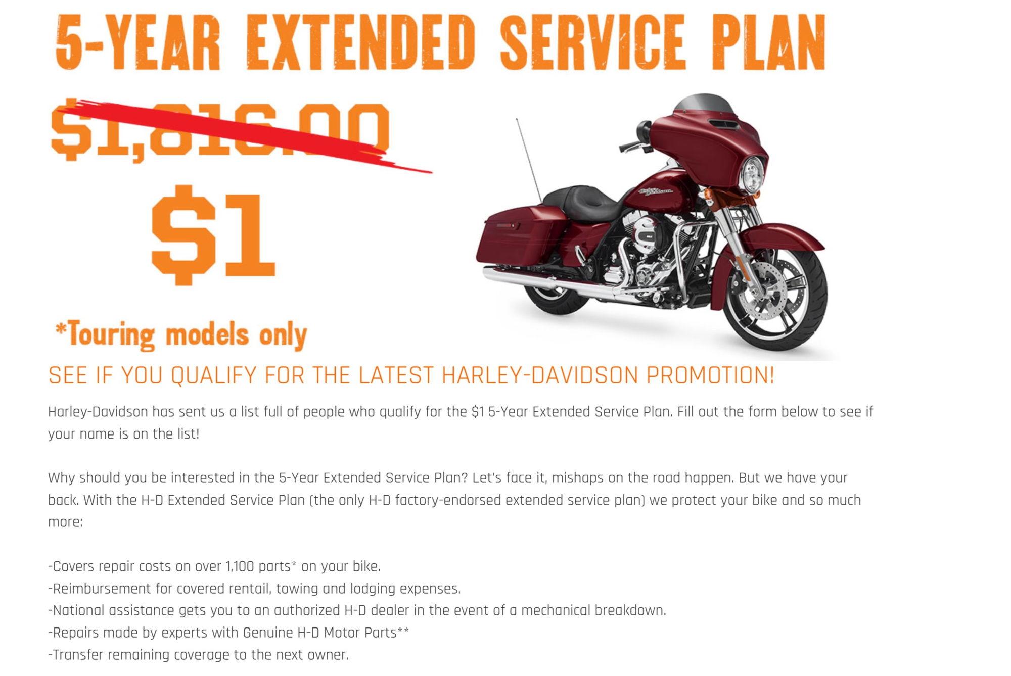 1$ extended service plan - harley davidson forums