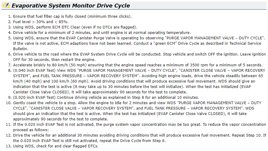 2006 S-Type 3 0 - Evaporative System Drive Cycle Test (TSB 021210