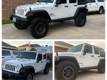 """Bottom left is stock.  Bottom Right is with the wheels and tires.  Top is after the Rubicon Express 3.5"""" Sport w/ hi-steer kit."""